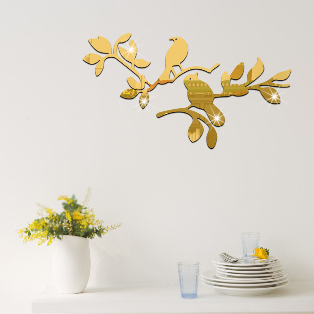 Set 3d Fashion Acrylic Mirror Surface Wall Sticker Branches Birds  Design Removable Wall