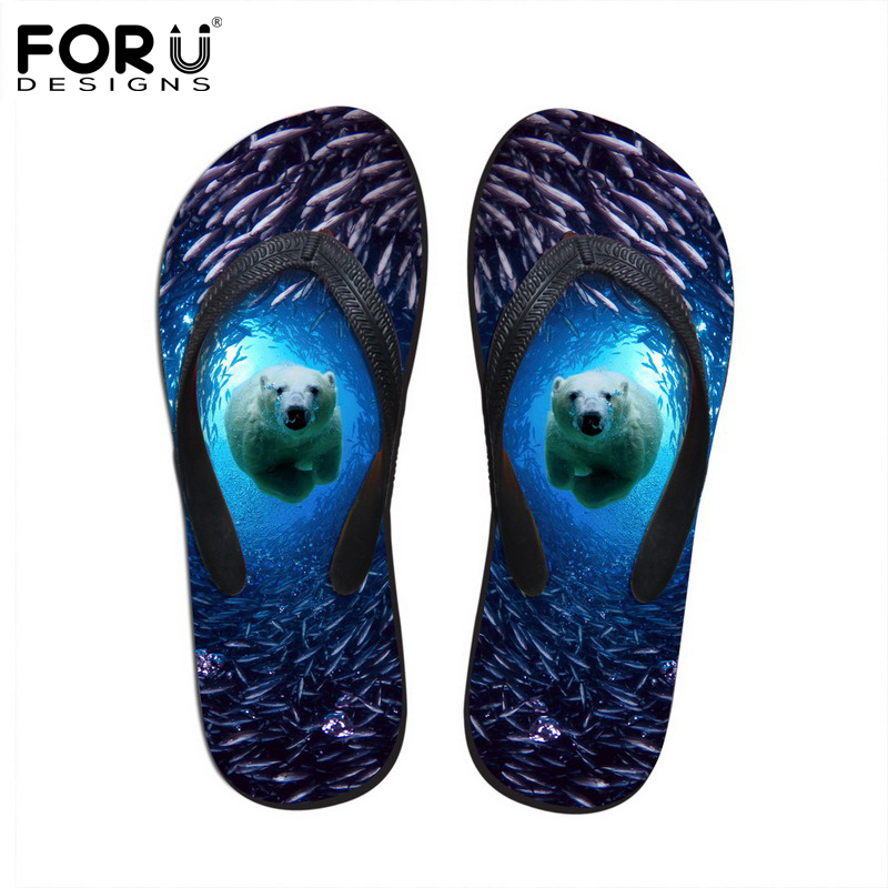FORUDESIGNS 2018 Summer Women Flip Flops 3D Blue Sea Animals Dolphin Printed Rubber Flipflops Fashion Woman Beach Slippers Shoes