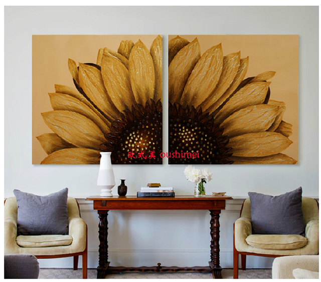 Handmade Modern Golden Pictures On Canvas Oil Painting Landscape Paintings  For Room Wall Decor Abstract Sunflower