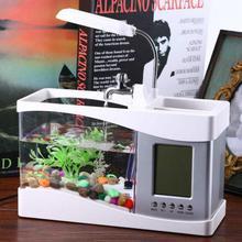 USB Mini Aquarium Desktop Fish Tank Electronic LED Aquarium Fish Bowl Decoration With Water Pump LED Light Calendar Clock