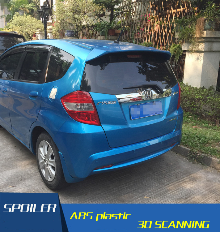High Quality ABS Material Car Rear Wing Primer Color Rear Spoiler For Honda Fit Style Roof Spoiler 2009-2014 vacation