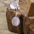 Штамп 925 серебряных ювелирных изделий мода дамы природный самоцветы ретро чешский белый опал серьги просто подруга подарок