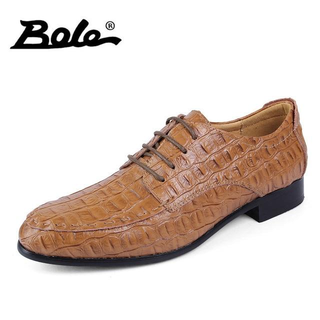 d1bcc74854310 US $39.04 45% OFF|BOLE 38 50 Large Size Handmade Leather Men Shoes Fashion  Designer Lace Up Men Dress Shoes Party Wedding Flats Shoes Men Footwear-in  ...