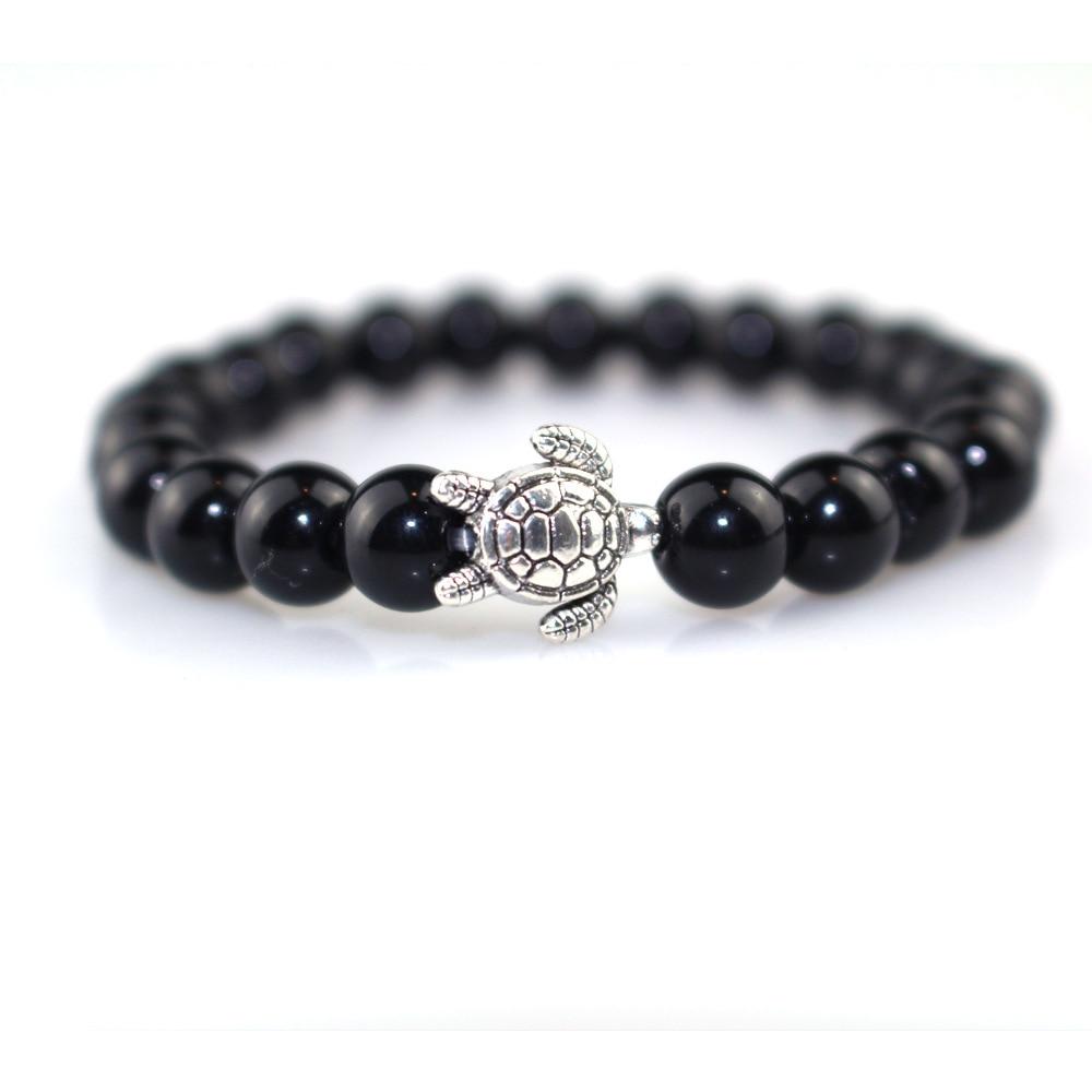 2018 Fashion Black Single Men and Women Bracelet 8MM Nature Black Obsidian Couple Bracelets Cute Silver Tortoise Bracelets