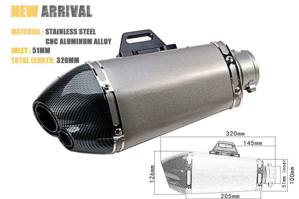 51mm inlet Universal Carbon Fiber Motorcycle Exhaust Muffler Modified Exhaust Pipe z800 R1 R6 R15 CBR1000 MSX 125 Akraprov стоимость