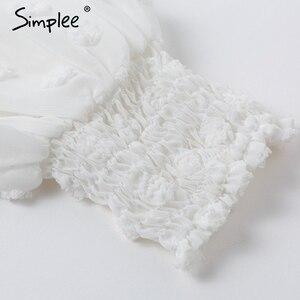 Image 5 - Simplee Sexy chiffon bianco delle donne del vestito Lungo del manicotto della lanterna del merletto abiti puntini femminile di Lusso sottile del partito di sera del vestito abiti