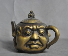 Antique Tea pot ,Old CopperHandwork Carved 4 different face buddha Pot,Vintage Metal Decoration Crafts