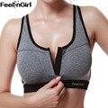 FeelinGirl New Design Womens Push Up Bras Underwear No Rims Fitness Bra TOP Shockproof Seamless Bra Top -E
