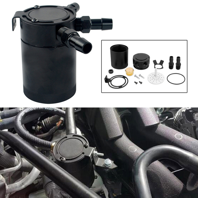 Compact Baffled 3-Port Oil Catch Can