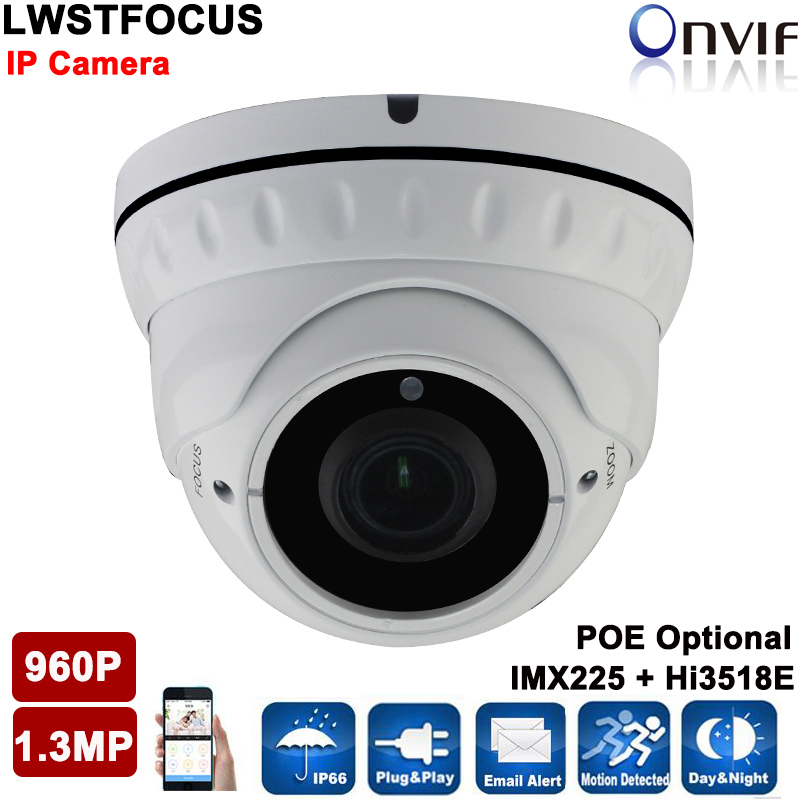 1280*960P 1.3MP IP Dome Camera 2.8-12MM lens 30M IR distance ONVIF Waterproof Out/indoor IR Night Vision P2P CCTV Camera System 4pcs lot 960p indoor night version ir dome camera 4 in1 camera 3 6mm lens p2p onvif abs plastic housing