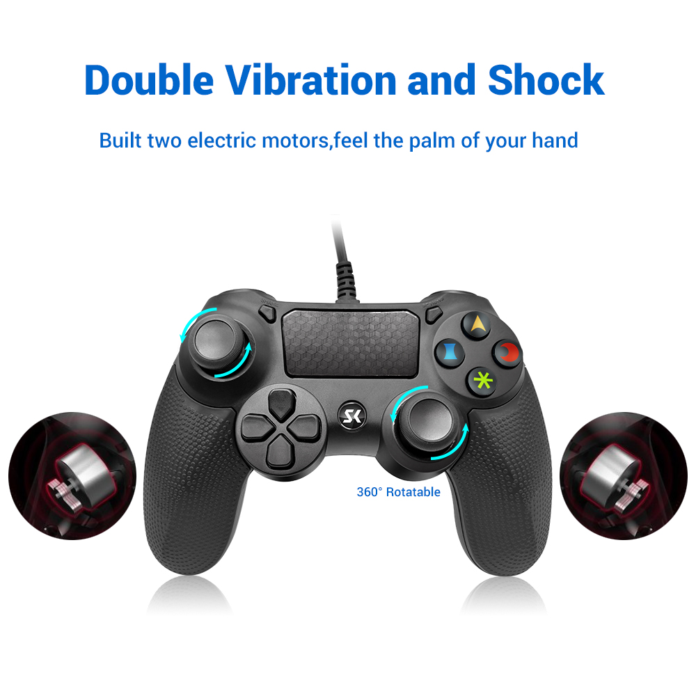 For Sony PS4 Controller Usb Wired Vibration Gamepad For Playstation 4 PC Detroit Wired Joystick Double Vibration And Shock