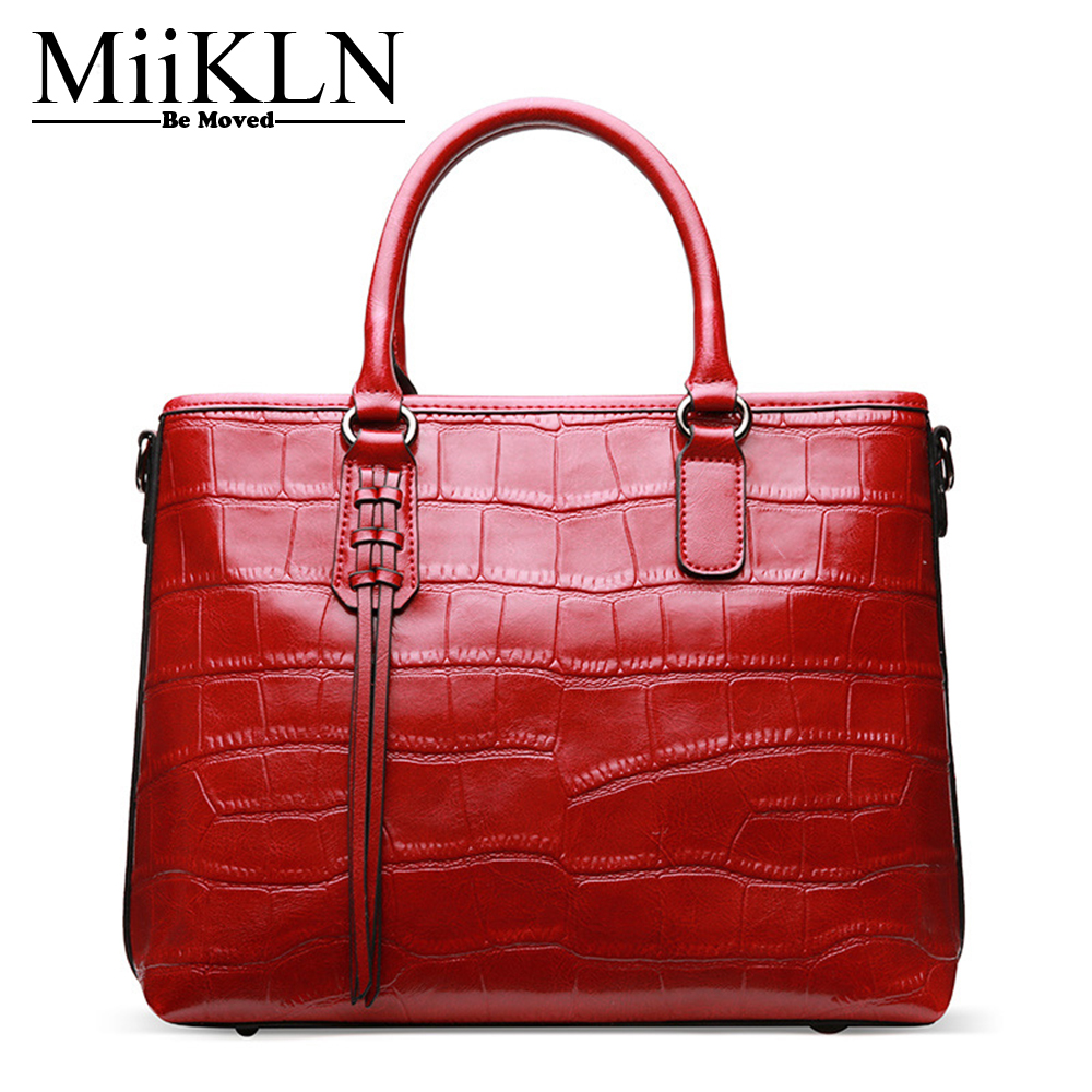 MiiKLN Crocodile Pattern Cow Leather Ladies Bags 2017 New Design Casual Womens Handbags And Purses Red Black Solid Hard Bag миксер galaxy gl2201