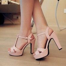 Del Color del caramelo del Nuevo Verano Peep Toe Hebilla de La Correa Gruesa de Tacón Alto Sandalias de Gladiador Plataforma de Las Señoras Zapatos de Las Mujeres