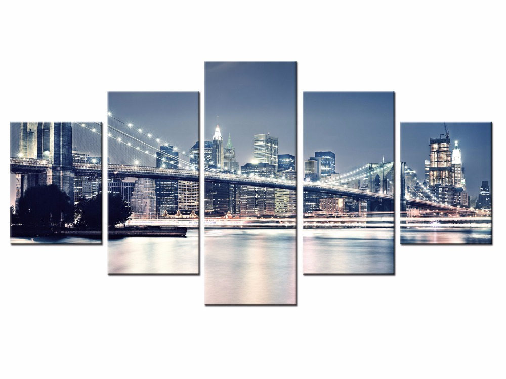 Framed 5 Panels Classic city landscape Canvas Print Painting Modern Wall Art for Picture Home Decor Artwork/city-152