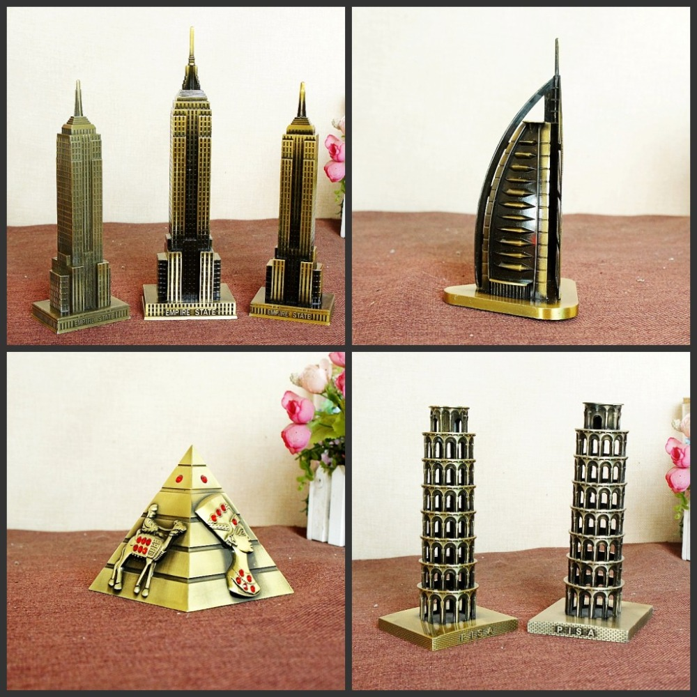 Metal 3D World Great Landmark Architecture Pyramid Sailing Hotel Burj Khalifa, etc. Modelo de construcción de estatuillas de metal para decoración del hogar