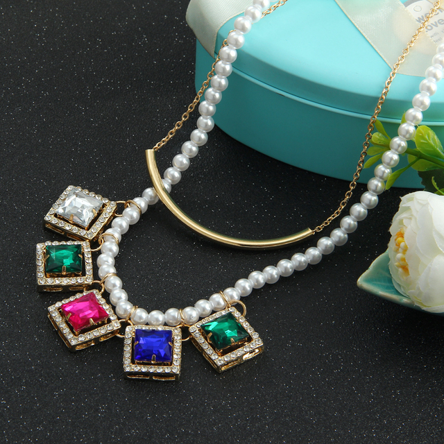 Wholesale Jewelry Imitation Pearl Chain Square Colorful Crystal Pendant  Gold Color Clavicle Choker Statement Necklace For Women cac79b4f9d6b