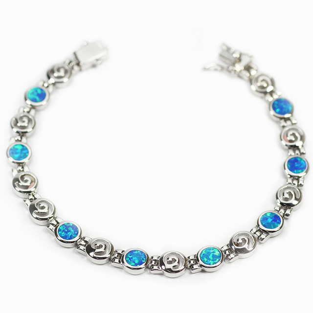 Sz0054 Elegant Opal Gem Bracelet Round Pattern Royalblue Friendship Bracelets Bangles For Women Bijoux Party
