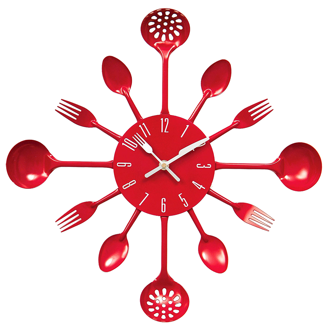 Cutlery Metal Kitchen Wall Clock Spoon Fork Creative Quartz Wall Mounted Clocks Modern Design Decorative Horloge Murale 9 Colors