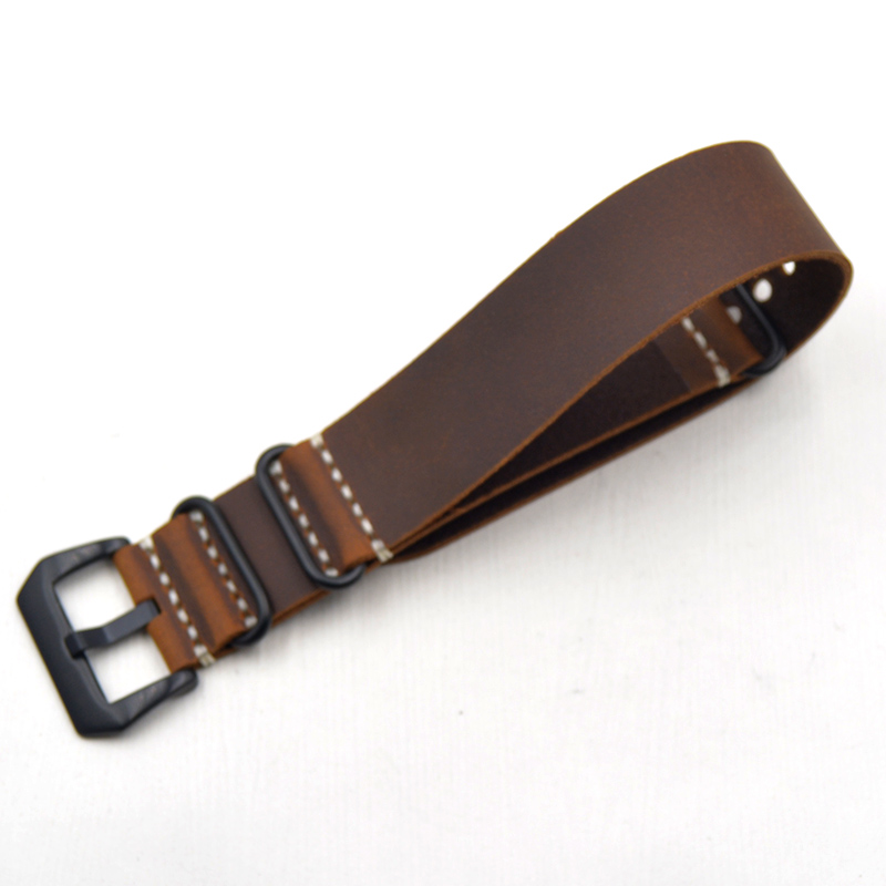 2018 New replacement Watch Band Strap crazy horse leather nato 20 mm22mm 24mm 26mm Schoolboy girl brown green For brand watches in Watchbands from Watches