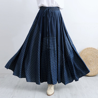 Makuluya New High Quality Women's Vintage Ethnic Hole Printed Literary Bohemian Diamond Polka Dot Denim Long Pleated Skirts L6