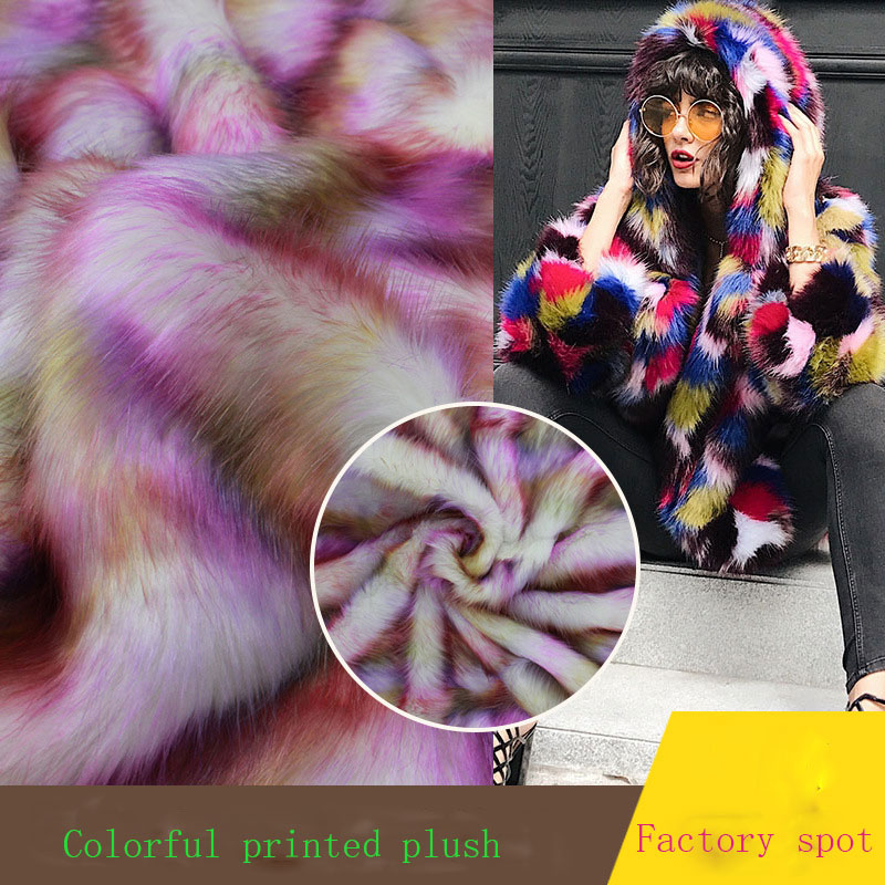 Colorful printed plush Tie dyed plush printed colorful faux fur fabric