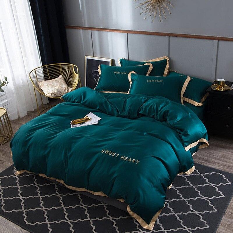 CHAUD! 100% pur Satin soie ensemble de literie maison Textile King Size parure de lit lit vêtements housse de couette drap plat taies d'oreiller en gros