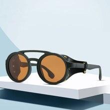 2019 yeni Retro Vintage yuvarlak polarize Punk Steampunk güneş gözlüğü erkekler için deri yan kalkan erkek güneş gözlüğü PL1122