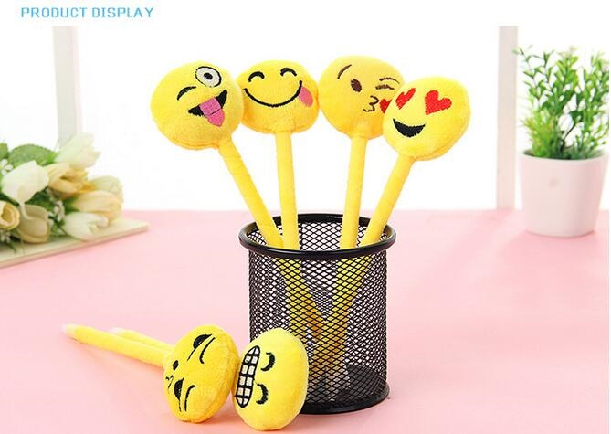 1pcs/lot 3D Yellow Plush Expression Ballpoint Pen Soft Cotton Material For School And Office Writing Supplies