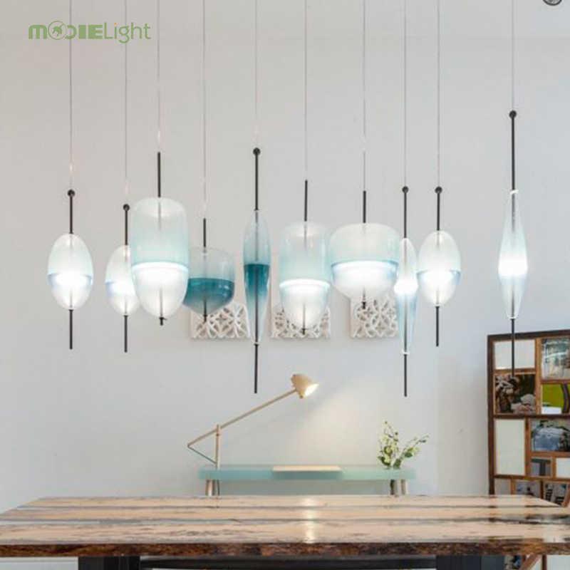 Синий стеклянный подвесной светильник Nordic современный teardrop светодио дный-shaped LED art deco простой белый подвесной светильник для гостиной Ресторан Кухня