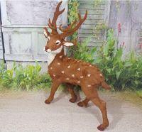 Моделирование пятнистого оленя модель полиэтилена и реальные меха Рождественский олень большой 60x30x80 см ремесло, опору, украшение дома пода