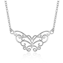 top quality Silver Plated &Stamped 925 hollow wonderfull butterfly wide pendant necklace for women fine jewelry trendy promotion