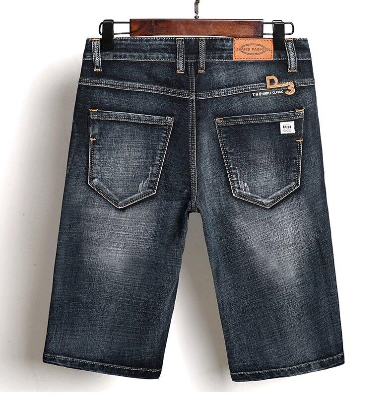 KSTUN Summer Shorts Jeans Men Denim Pants Black Blue Fashion Design Men's Jeans Slim Fit Stretchy Good Quality Male Jeans Hombre 17