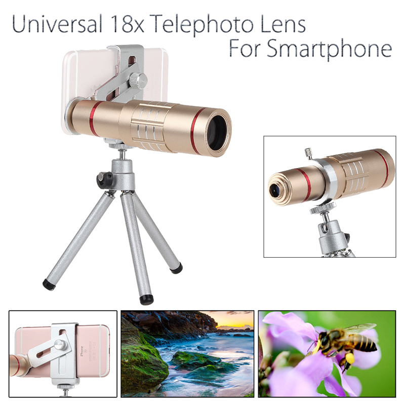 Universal 18x zoom lens Magnification Optical Camera Telephoto Lens Telescope With mini Tripod For Iphone Smartphone Gold 10