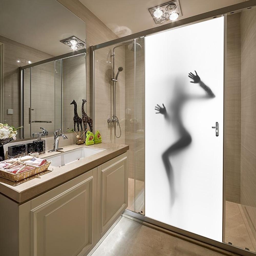 Funlife 77x200cm Sexy Woman Silhouette Peering Design Vinyl Diy Door Mural Covering Poster For Bathroom