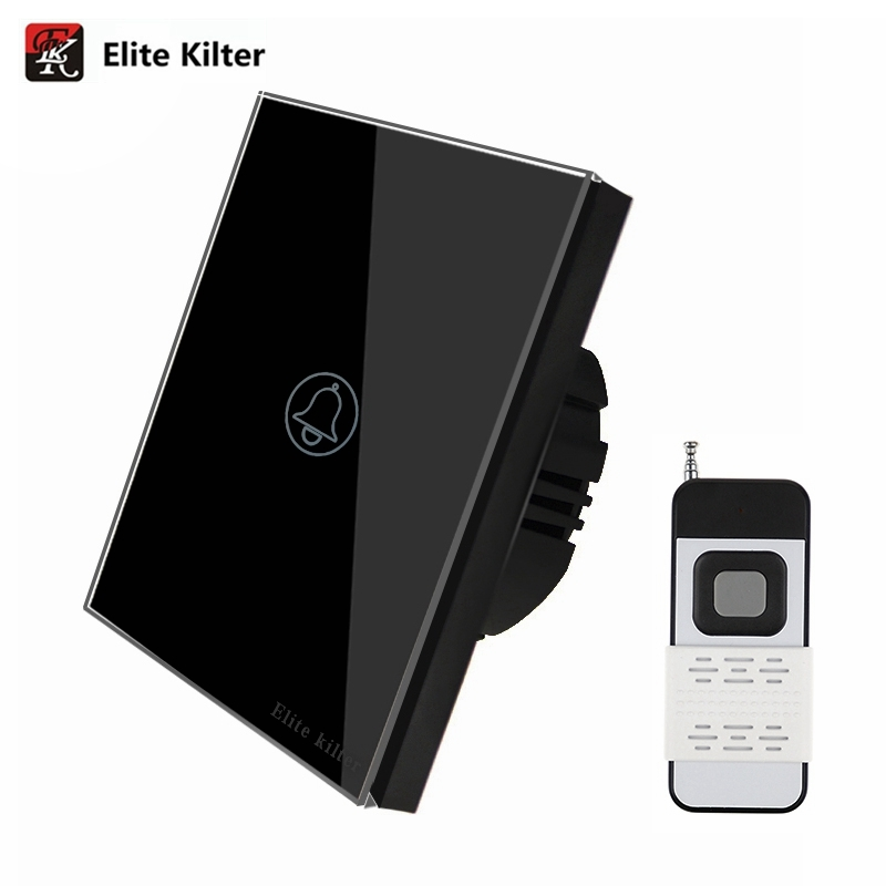 Elite Kilter 1 Gang 1 Way Touch Switch EU/UK Standard Wall Light Touch Screen Crystal Glass Panel Remote Control Switch LED touch switch eu standard wall switch 2 way control switch glass panel wall light touch screen switch kt001deu