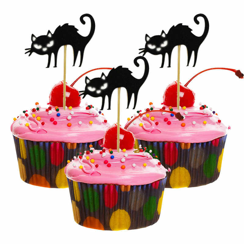 5pcs Pack Ghost Witch Cat Halloween Cake Toppers Cupcake Card