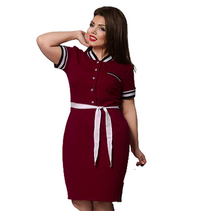 US $10.73 51% OFF|2019 New Designer Polo Dress Women Plus Size Big Size  Knee Length Maxi 6XL Oversized Straigth Patchwork Vestidos Sashes Gift-in  ...