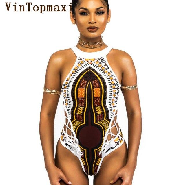 1e52b1063 African Ethnic Printing One Piece Swimsuit 2017 Women Trikini Sexy High Cut  Swimwear Female Bodysuit Monokini Bandage Beach wear