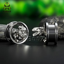 цена KUBOOZ Dinosaur Ear Plugs Tunnels Stainless Steel Piercing Body Jewelry Earrings Gauges Expander Screw Fashion Earrings Gift онлайн в 2017 году