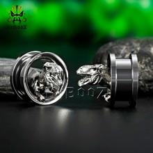 Kubooz dinossauro plugues de orelha túneis piercing aço inoxidável corpo jóias brincos calibres expansor parafuso brincos moda presente