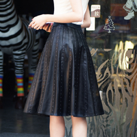 2017 highend genuine leather natural real sheepskin female women skirt knee length with rivets bead black plus big size xxl 2xl