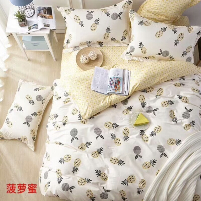 06a90c73f9 100% Cotton Soft Bed set Pineapple Birds print Cute Bedding Set Twin Queen  King size Kids Adults Duvet Cover Bed sheets set