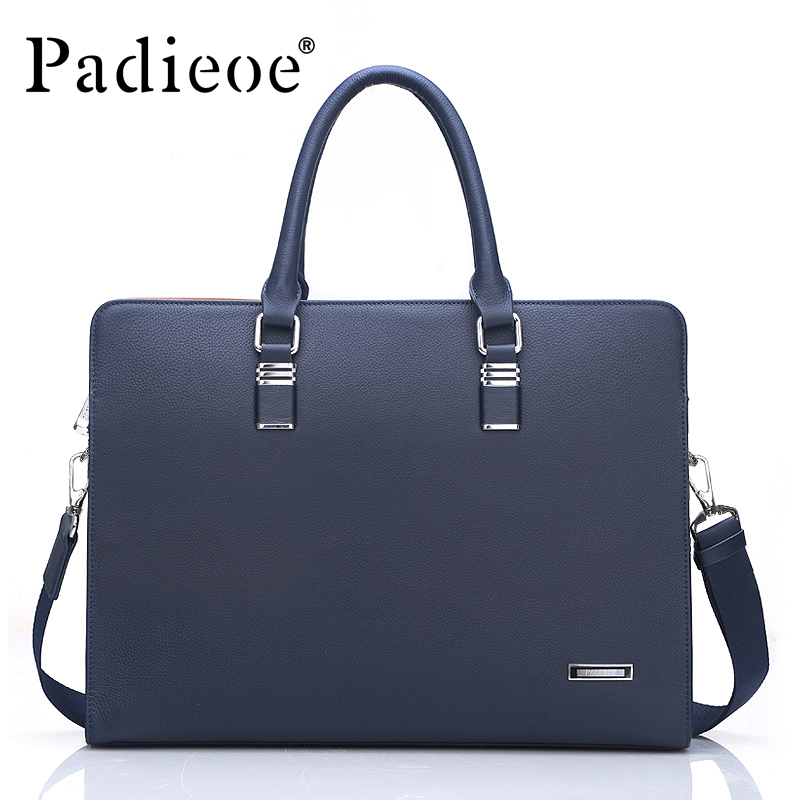 Padieoe Luxury Genuine Cow Leather Men's Briefcase High Quality Business Men Shoulder Bags Fashion Casual Tote Durable Briefcase