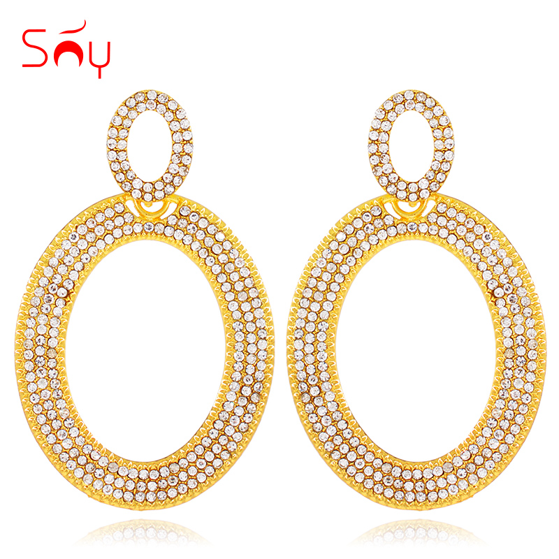 Sunny Jewelry Statement Big Earrings For Women Long Drop Dangle Earrings Cubic Zirconia Moon Bohemia Earrings For Party Wedding купить в Москве 2019