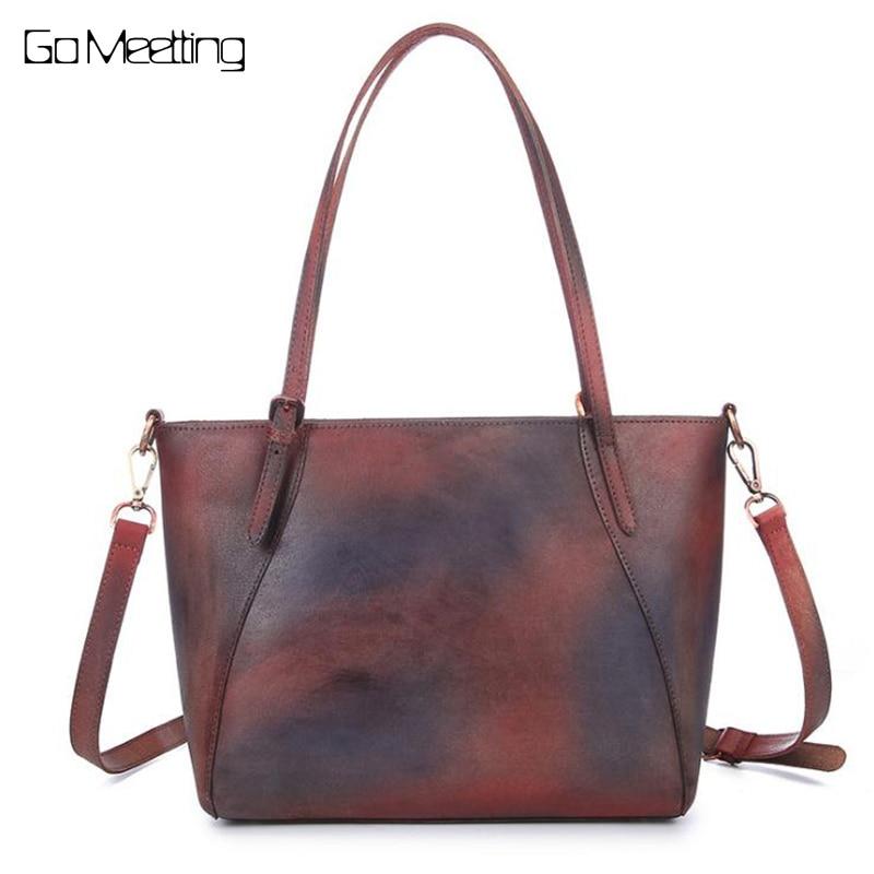 Vintage Genuine Leather Women Shoulder Bags Handbags 2018 New Leisure Trend Ladies High Quality Crossbody Bag Women Handbag