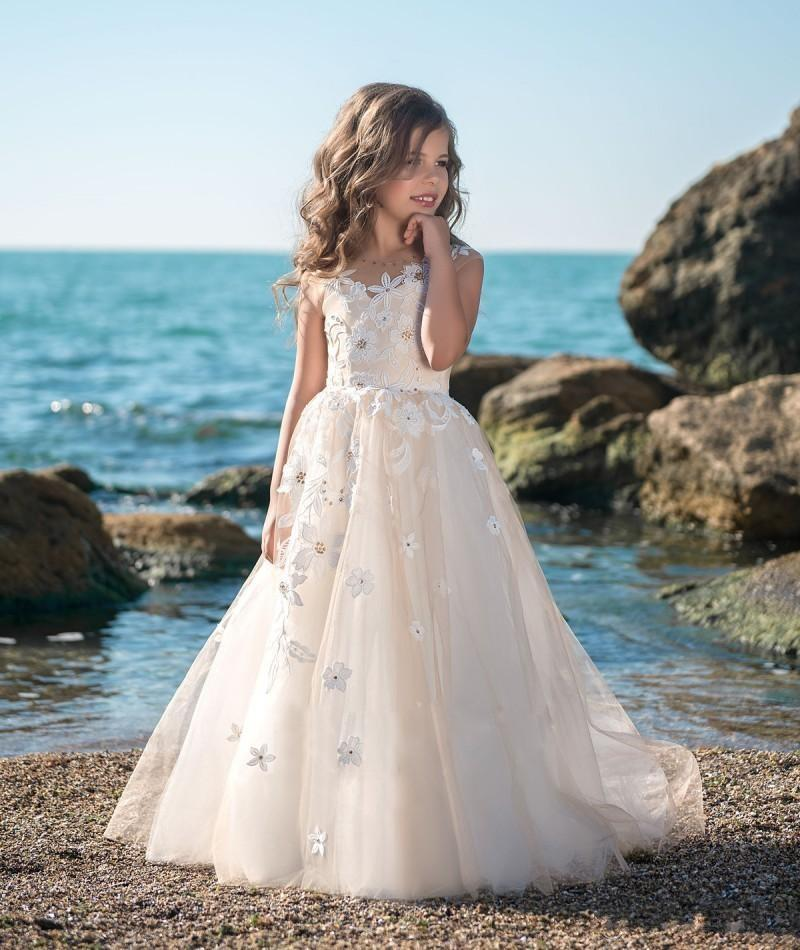 2018 Princess Vintage Beaded Arabic Flower Girls Dresses Sheer Neck Child Dress Beautiful Flower Girl Wedding Gowns цены онлайн