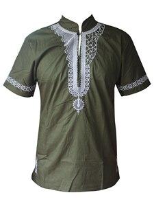 Image 2 - Dashikiage African Man Casual Top Kwanzaa Embroidery Dashiki Summer Mens t shirt
