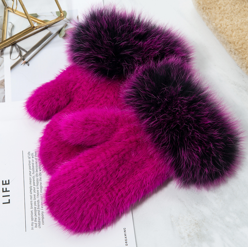 ZDFURS * marque mode hiver femmes gants véritable 100% réel vison fourrure gant tricoté mitaines épais chaud fourrure gants & mitaines