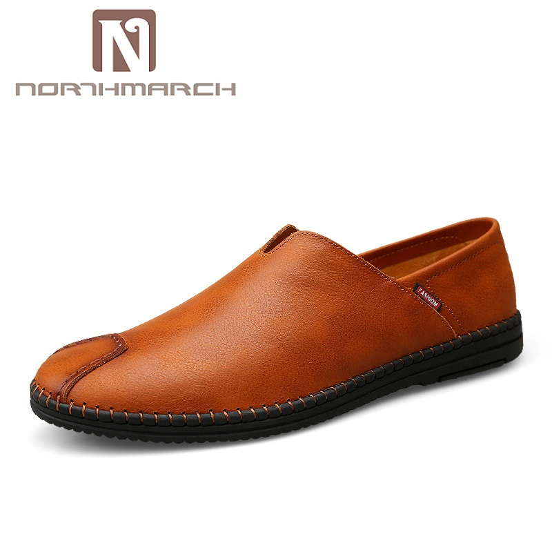 NORTHMARCH Brand Quality Genuine Leather Shoes Men Handmade Casual Men Flats Shoes Slip On Loafers Moccasins Driving Shoes lozoga 2018 men leather shoes handmade moccasins genuine cow leather men loafers design slip on comfortable peas shoes men flats