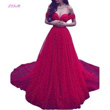 Arabic Vintage Red Formal Evening Dresses Off the Shoulder Ball Gown Beaded Prom Dress Carpet Fashion Wear Celebrity Gowns